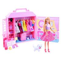 Inlea4Fun ANLILY Ruhásszekrény játék babával és kiegészítőkkel - rózsaszín