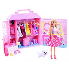 Inlea4Fun ANLILY Ruhásszekrény játék babával és kiegészítőkkel - rózsaszín Előnézet