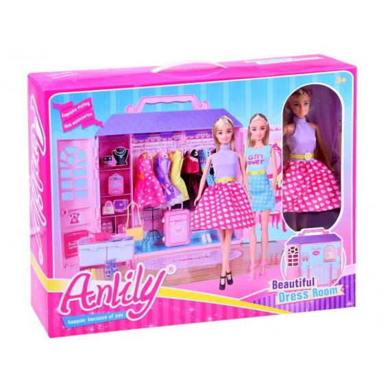 Ruhásszekrény játékbabával és kiegészítőkkel Inlea4Fun ANLILY  - rózsaszín