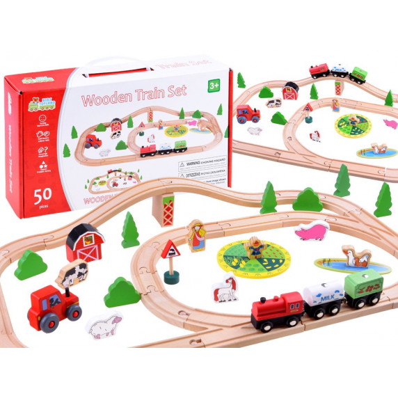 Inlea4Fun KIDS TOYLAND Fa vasútpálya szett kiegészítőkkel Farm 50 darabos