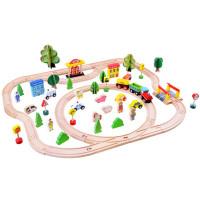 Inlea4Fun KIDS TOYLAND Fa vasútpálya szett kiegészítőkkel 80 darabos