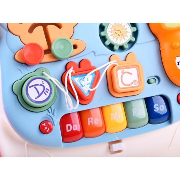 Készségfejlesztő járássegítő és asztal 2az1-ben Inlea4Fun MUSICAL STROLLER - kék/piros