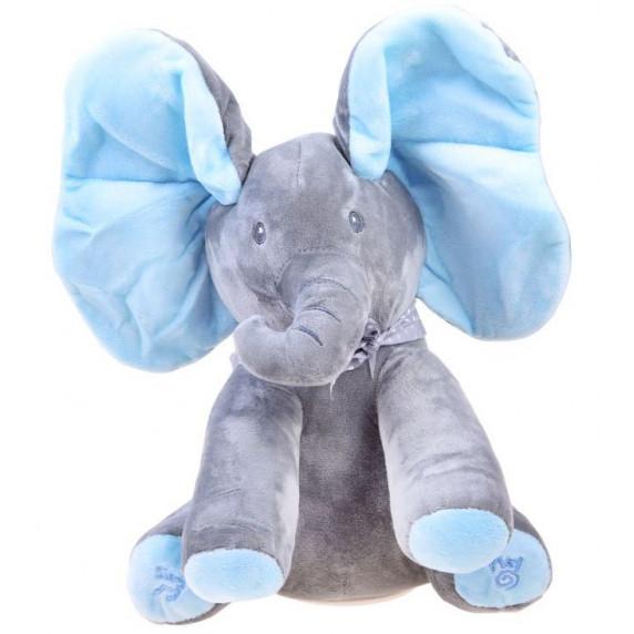 Inlea4Fun Interaktív Plüss figura elefánt - kék