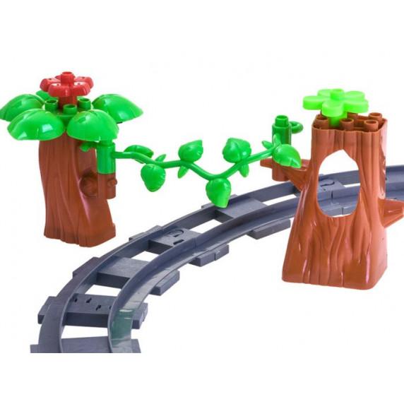 Inlea4Fun TRAIN Játék vasút kiegészítőkkel - piros