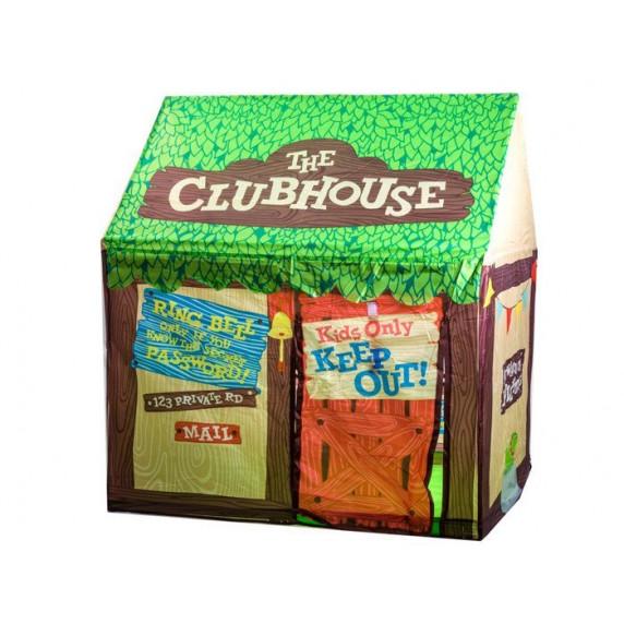 Gyerek sátor Inlea4Fun CLUBHOUSE - zöld/barna faházikó
