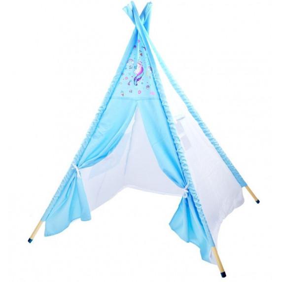 Gyerek sátor Inlea4Fun TENT HOUSE - egyszarvú kék