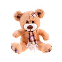 Plüss medve kockás sállal Inlea4Fun 30 cm - világos barna