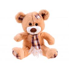 Plüss medve kockás sállal Inlea4Fun 30 cm - világos barna Előnézet