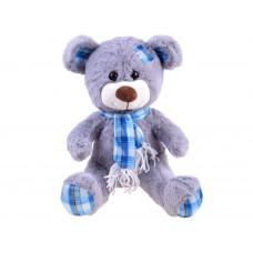 Plüss fiú medve kockás sállal 30 cm - szürke Előnézet