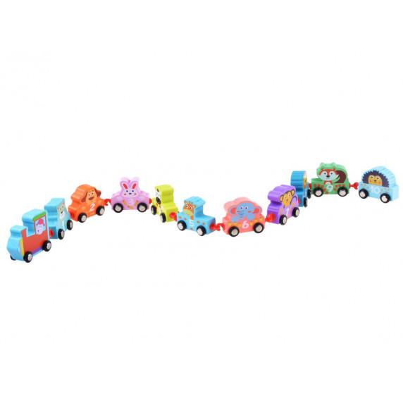 Inlea4Fun SMALL TRAIN Fa kisvonat állatmintákkal
