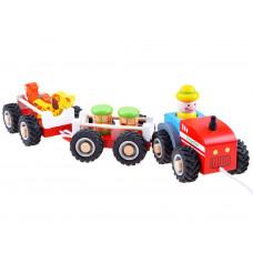 Húzható fa kistraktor utánfutóval és figurával Inlea4Fun WOODEN TRACTOR Előnézet