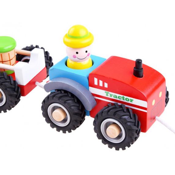 Húzható fa kistraktor utánfutóval és figurával Inlea4Fun WOODEN TRACTOR