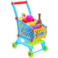 Inlea4Fun SUPER FUNNY Bevásárlókocsi élelmiszerekkel - kék