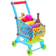 Inlea4Fun SUPER FUNNY Bevásárlókocsi élelmiszerekkel - kék Előnézet
