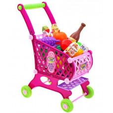 Inlea4Fun SUPER FUNNY Bevásárlókocsi élelmiszerekkel - rózsaszín Előnézet