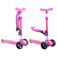 Roller / lábbal hajtós gyerekjármű 2az1-ben Inlea4Fun  - Rózsaszín