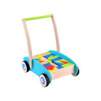 Fa húzható kiskocsi színes építőkockákkal Inlea4Fun WOODEN WAGON - 32 darabos