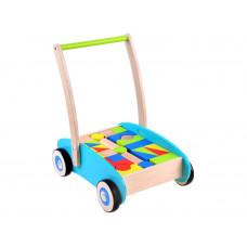 Fa húzható kiskocsi színes építőkockákkal Inlea4Fun WOODEN WAGON - 32 darabos  Előnézet