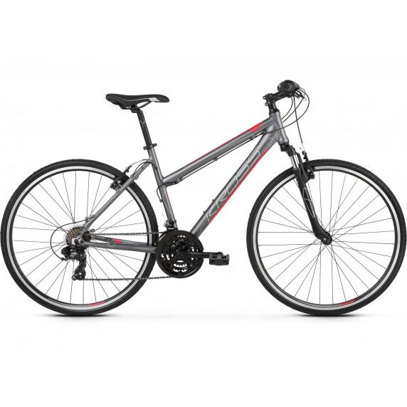 """KROSS Kerékpár EVADO 1.0 19"""" DL 2021 - matt grafitszürke / málna"""