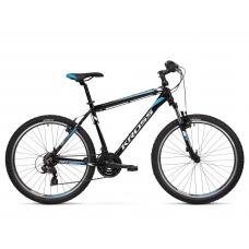 """KROSS MTB Hegyi kerékpár HEXAGON 1.0 14"""" XS - fényes fekete / fehér / kék Előnézet"""