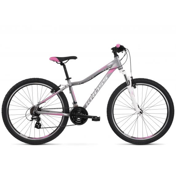 """Női hegyi kerékpár KROSS MTB WOMAN LEA 2.0 17"""" DS 2022 - matt ezüst / fehér / rózsaszín"""