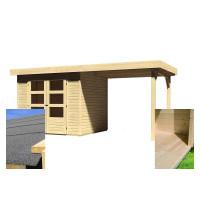 Fa kerti tároló ház kocsibeállóval 240 cm KARIBU ASKOLA 3 (14441) SET