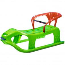 Inlea4Fun Kétszemélyes műanyag szánkó háttámlával - zöld Előnézet