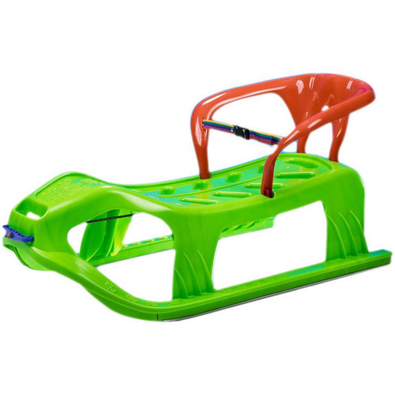 Inlea4Fun Kétszemélyes műanyag szánkó háttámlával - zöld