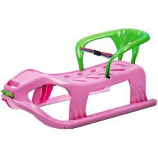 Inlea4Fun Kétszemélyes műanyag szánkó háttámlával - rózsaszín Előnézet