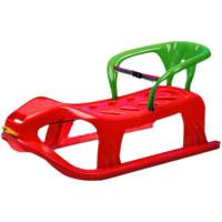 Inlea4Fun Kétszemélyes műanyag szánkó háttámlával - piros