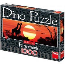 Dino Puzzle - Zsiráfok a naplementében - 1000 db-os panoráma Előnézet
