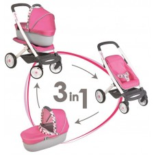 Smoby 3 az 1-ben kombinált babakocsi Maxi Cosi - pink Előnézet