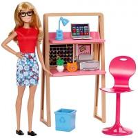 Mattel Barbie - Barbie bútorok: Dolgozószoba szőke hajú Barbie-val