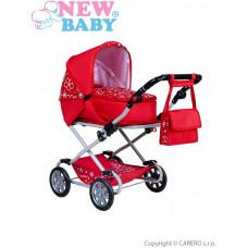 NEW BABY Mónika játék babakocsi - piros Előnézet