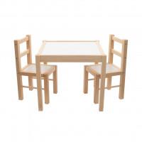 Gyerek fa asztal székekkel New Baby PRIMA - Természetes