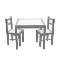 Gyerek fa asztal székekkel New Baby PRIMA - Szürke