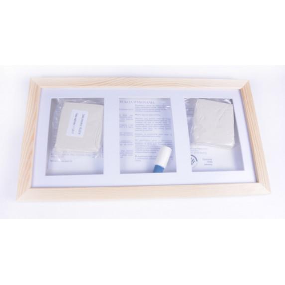 Kéz és láblenyomat készítő készlet Inlea4fun - Hármas keret - Fehér