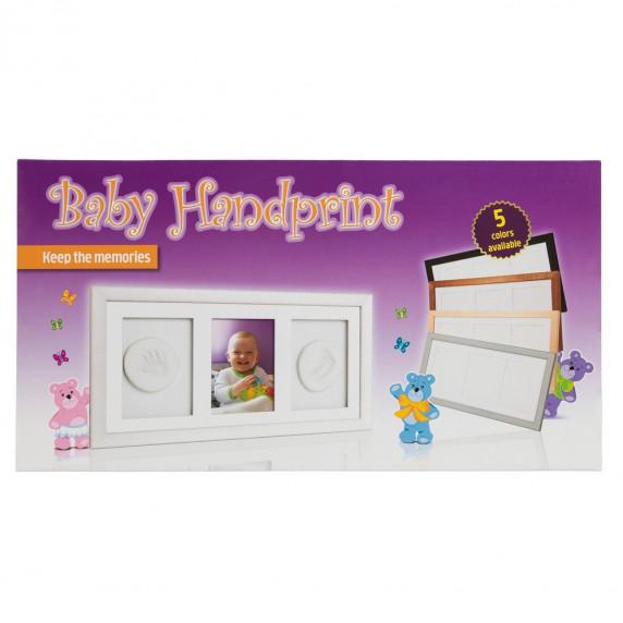 Kéz és láblenyomat készítő készlet Baby HandPrint- Hármas keret - Fehér