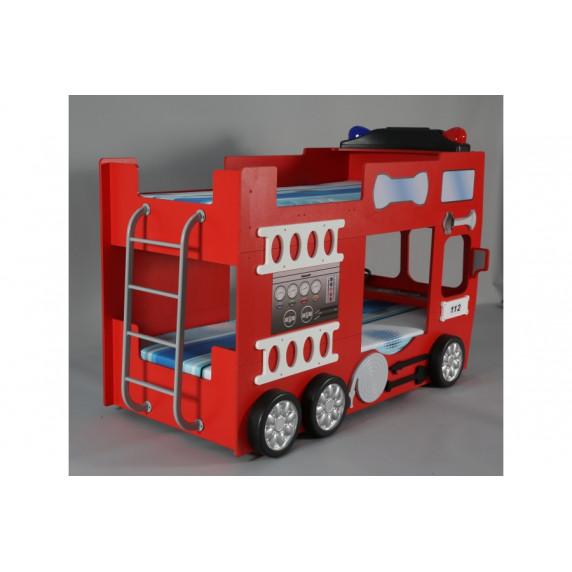 Tűzoltóautó emeletes gyerekágy Inlea4Fun