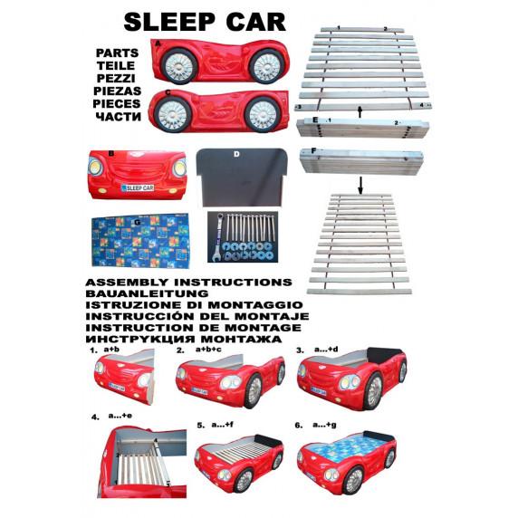Gyerekágy Sleepcar Inlea4Fun - Piros