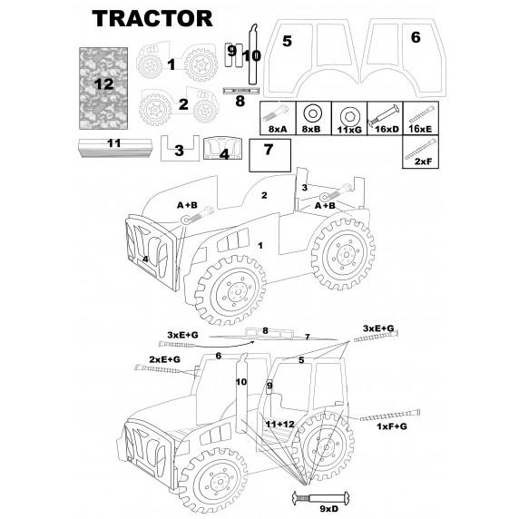 Gyerekágy Traktor Inlea4Fun - Kék