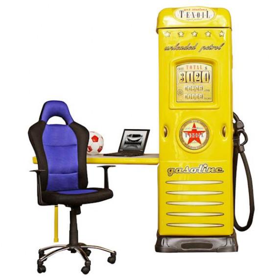 Inlea4fun szekrény íróasztallal Benzinkút - Sárga