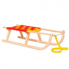 Inlea4Fun GRON gyerek fa szánkó puha ülőrésszel 90 cm - Piros/sárga Előnézet
