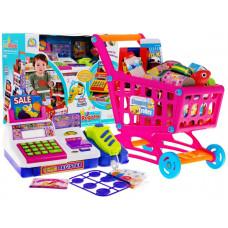 Inlea4Fun CASH REGISTER Bevásárlókosár pénztárgéppel - Rózsaszín Előnézet