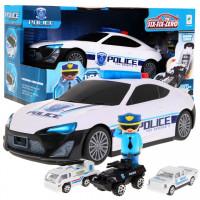 Nagy rendőrautó, kis autókkal töltve - fény- és hanghatásokkal
