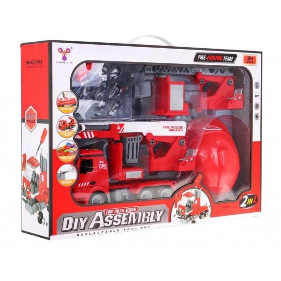 Tűzoltóautó sisakkal Inlea4Fun DIY ASSEMBLY