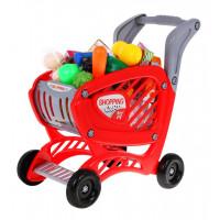 Bevásárlókocsi élelmiszerekkel Inlea4Fun SHOPPING CART - piros