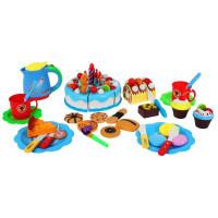 Szeletelhető torta szett 80 kiegészítővel Inlea4Fun SWEET CAKE - kék
