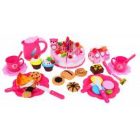 Inlea4Fun SWEET CAKE Szeletelhető torta szett 80 kiegészítővel - rózsaszín
