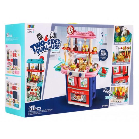 Játékkonyha 61 kiegészítővel Inlea4Fun TWO SIDED - piros/türkiz